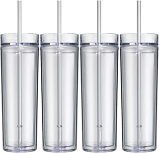 Skinny Acrylic Tumbler Double Wall 16 Oz - Clear