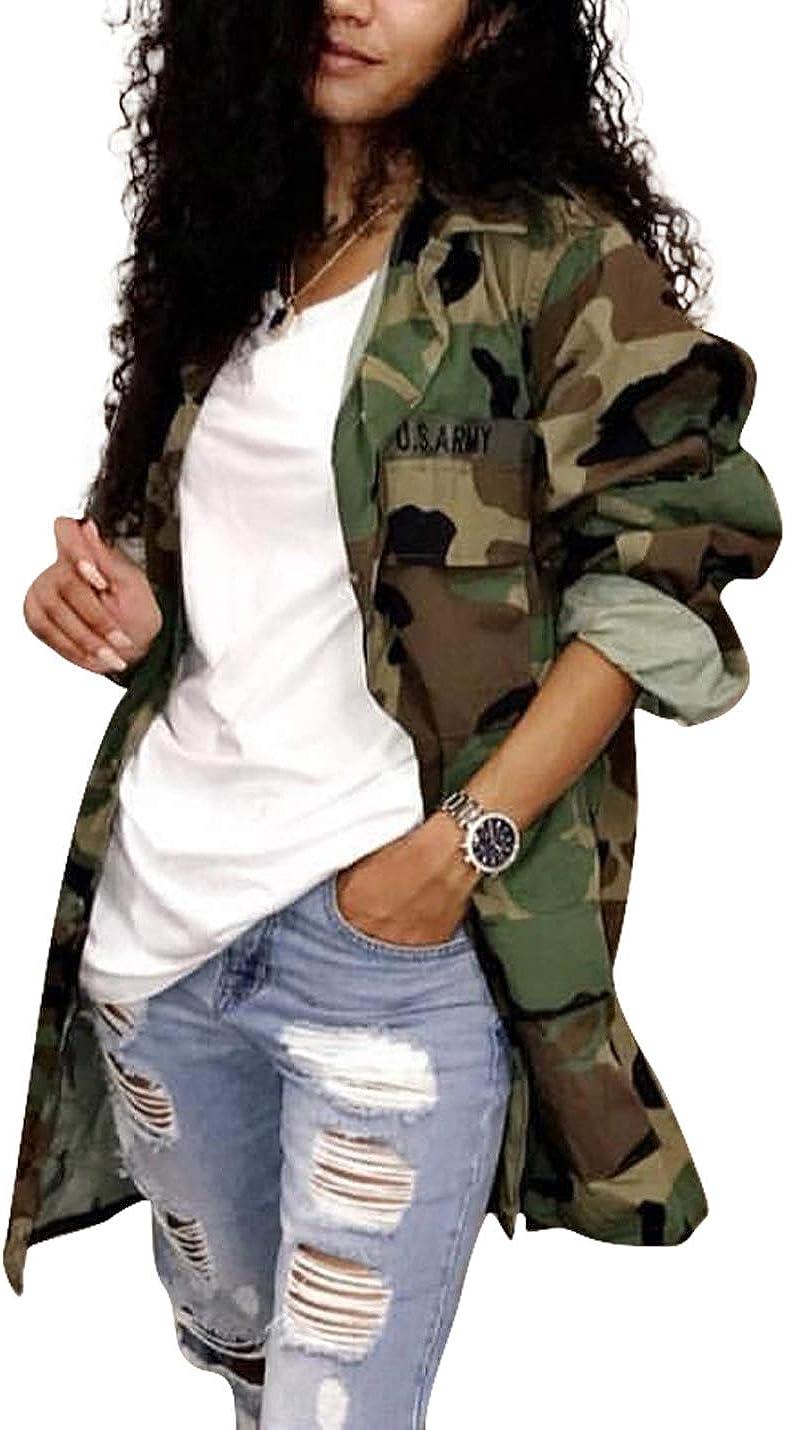 Naliha Women Casual Camouflage Jacket Military Anorak Long Sleeve Coat Outfit