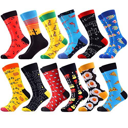 WeciBor Calcetines Hasta La Pantorrilla Para Hombre Estampados Hombres Ocasionales Calcetines Divertidos Impresos de Algodón de Pintura Famosa de Arte Calcetines de Colores de moda (ES073-56)
