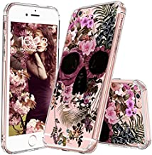 MOSNOVO iPhone 6S Plus Case/iPhone 6 Plus Case for Girls, Floral Skull Flower Clear Design Printed Transparent Plastic Case with TPU Bumper Protective Case Cover for iPhone 6 Plus/iPhone 6S Plus