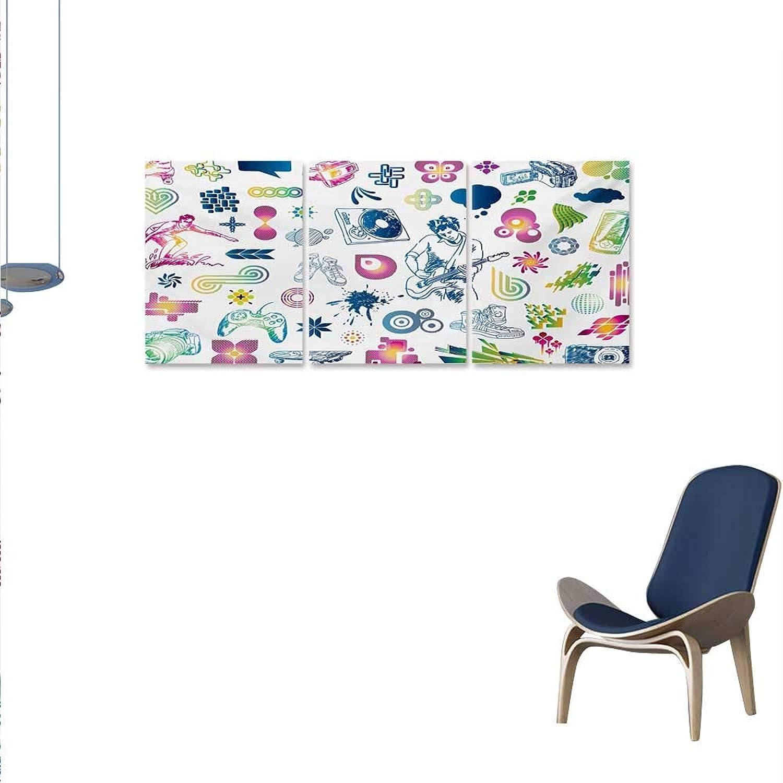 WinfreyDecor Music Canvas Wall Art Set Modern Design Boy Teenager Guitarist Butterflies Playstation Ombre Digital Image Wall Stickers 16 x24 x3pcs Multicolor
