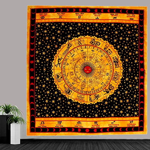 MY DREAM CARTS reina naranja astrología tapiz hippie de bohemia elefante mandala colcha
