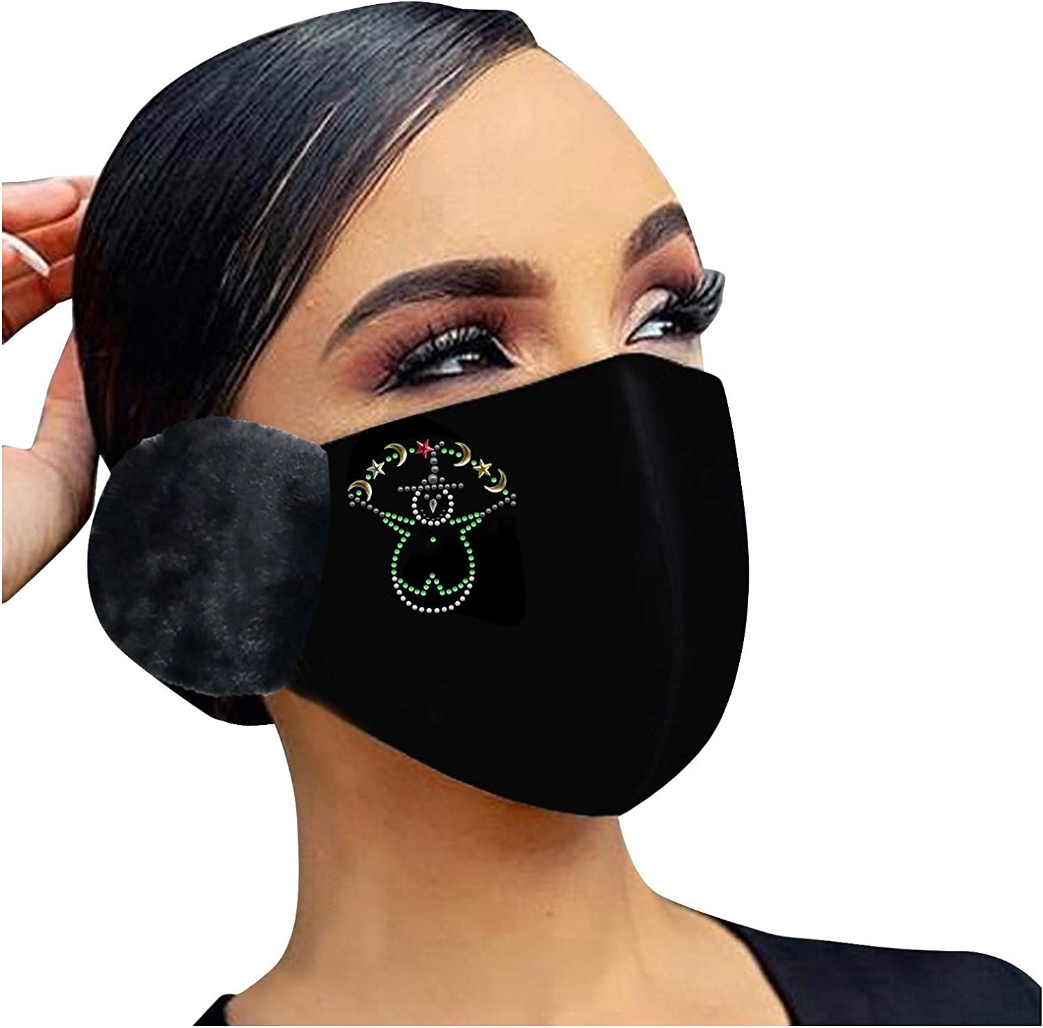 Nopeak 2-in-1 Face Bandanas With Earmuffs for Adult,Washable Windproof Mouth Caps, Winter Rhinestone Warm Ear Muffs