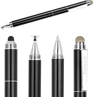 Capacitive Stylus Pen with Ballpoint Pen Writing ,Penyeah 4-in-1 Touch Screen Stylus—Writing Pen &Disc Tip & Mesh Fiber Tip & Rubber Tip,Stylus Pen For Touch Screen Devices--Black