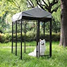 JAXPETY Outdoor Pet Cage Dog Kennel Steel Wire Pen Run House Covered Shade Shelter Yard Large, 4'L x 4'W x 6'H