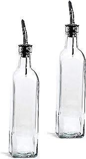 DLD Italian Glass Oil And Vinegar Cruet 16 Oz, Olive Oil Dispenser With Stainless Steel Spout, Slight Green Tint (SET OF ...