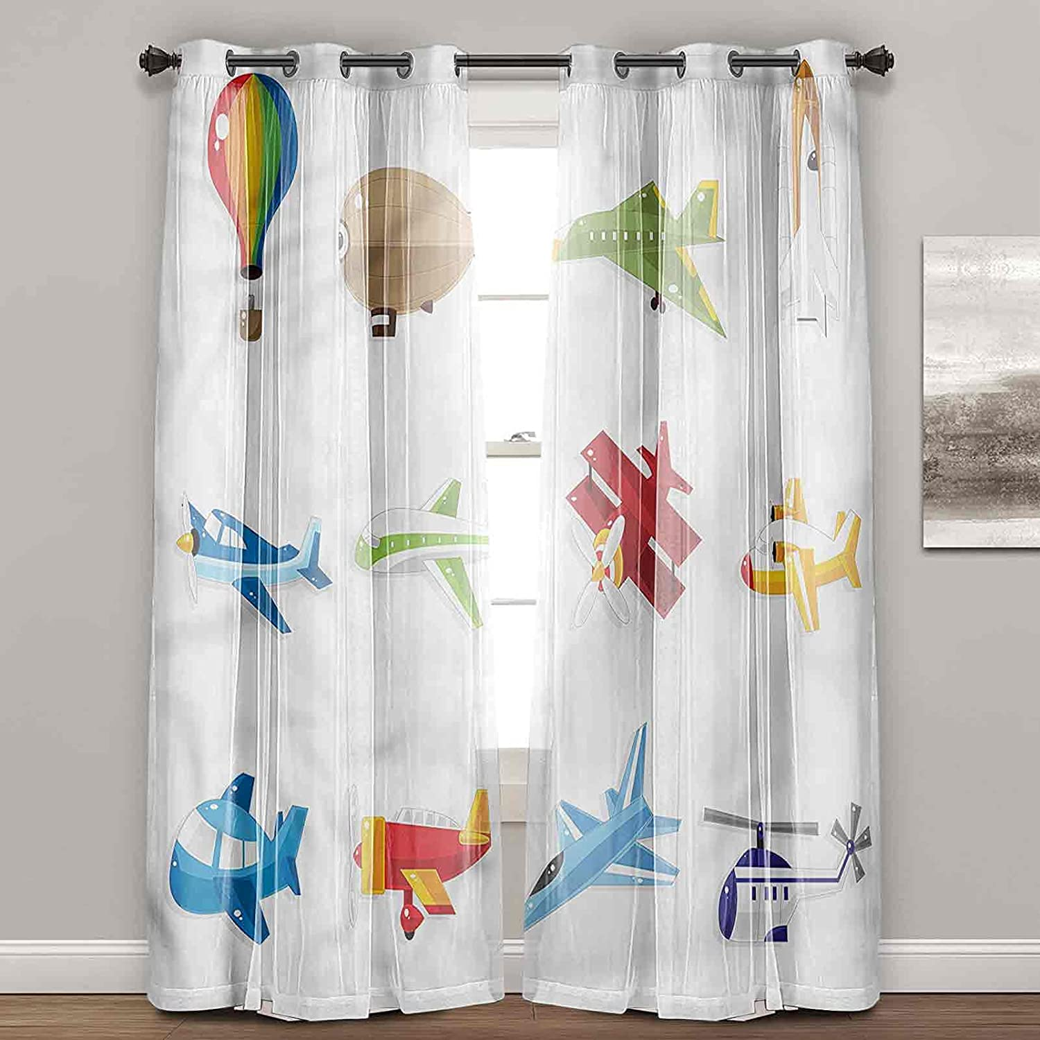 Window Curtains for Bedroom Boys Airliner Drapes Jet Zeppelin Long Beach Mall Sale item