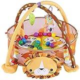 Alfombra de juegos para bebé, gimnasio y actividad, alfombra de juego y bola con laterales de malla para jugar en interiores (león)