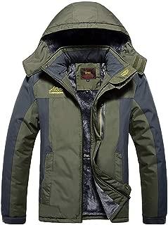 MAGCOMSEN Men's Water Resistant Mountain Ski Jacket Fleece Lined Windproof Jacket Coat with Hood