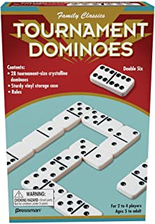 Family Classics Tournament Dominoes - Double Six Crystalline Tiles in Storage Case by Pressman