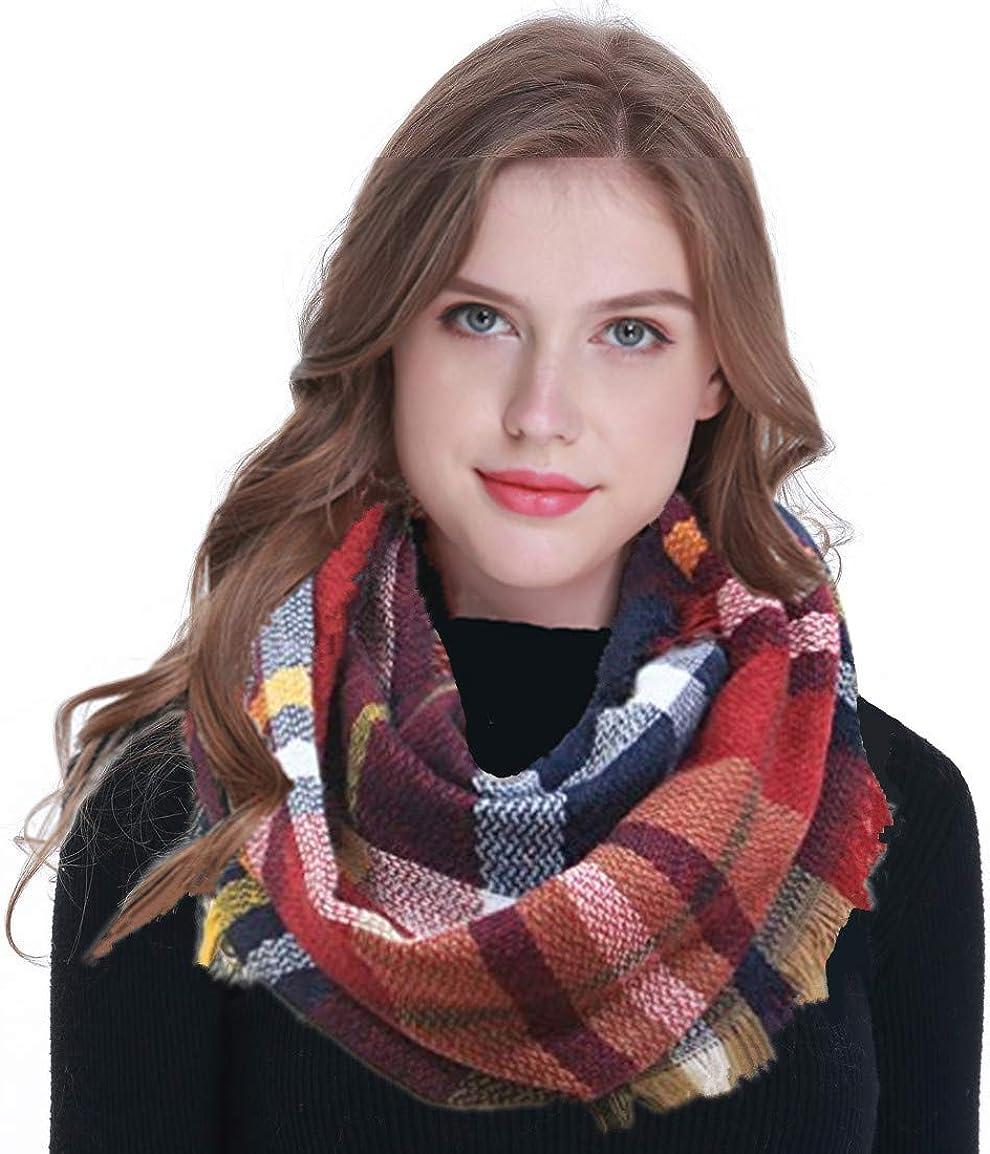 Winter Women Plaid Infinity Scarf,Fashion Tassel Soft Circle Loop Scarves for Women