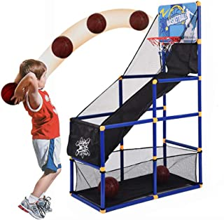 【US STOCK】Basketball Hoop for Kids, Children Basketball Stand with Basketball & Pump, Basketball Circle Arcade Game Toddle...