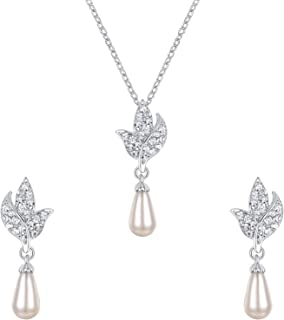 Flyonce Crystal Simulated Pearl Floral Leaf Teardrop Bridal Necklace Earrings Set Clear Silver-Tone
