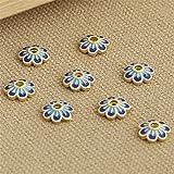 Luoyi 3pcs Golden Plated Sterling Silver Enamel Bead Caps, Cloisonne Flower Caps, 7-petal, 10mm, Hole: 2mm (T035L)
