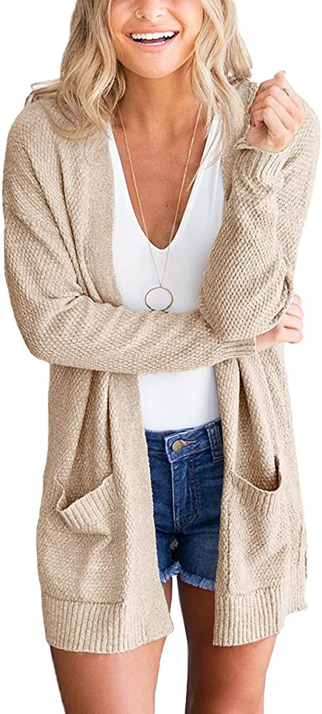 Goranbon Women's Cardigan Sweaters Open Front Long Sweater Knitted Coat with Pockets