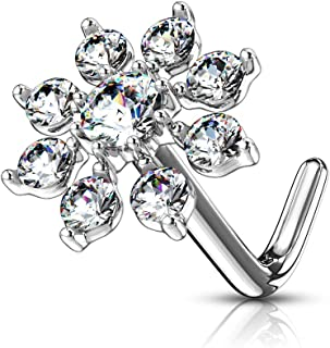 MoBody 20G Nose Ring Stud L-Shaped Double Tiered CZ Starburst Top Surgical Steel Body Piercing Jewelry