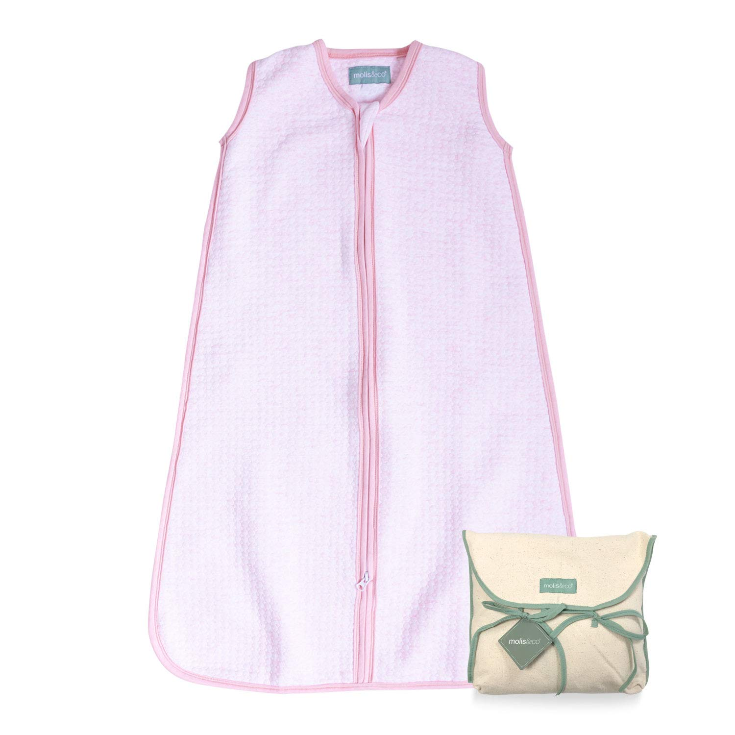 Candy Soft and Cozy molis/&co 1.0 TOG Baby Sleeping Bag 0 to 6 Months Ideal The Spring and Autumn use 100/% Organic Cotton Lightly Padded. Pink