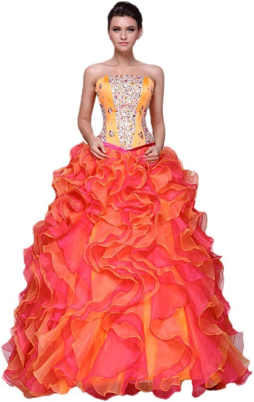 Dearta Women's Ball Gown Strapless FloorLength Organza Quinceanera Dresses