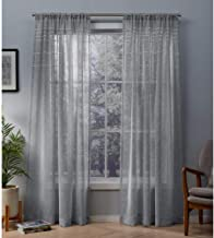 Exclusive Home Curtains Davos Puff Embellished Belgian Linen Sheer Window Panel Pair with Rod Pocket, 54x96, Dove Grey, 2 Piece