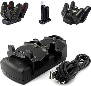 Lesb Cargador de mando de Playstation 3PS3Move/PS4Dock con cable USB, 2puertos estación de carga DualDock soporte de cargador 3en 1