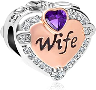 CharmSStory Rose Gold Wife Heart Love Charms Beads for Bracelets & Necklaces