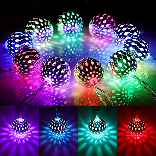 16 Colors Changing Globe String Lights USB Plug, 13ft 40 Silver Metal Balls LED Fairy Lights with Remote Timer Moroccan Orb Decorative Lights for Bedroom Outdoor Party Wedding Christmas Boho Decor