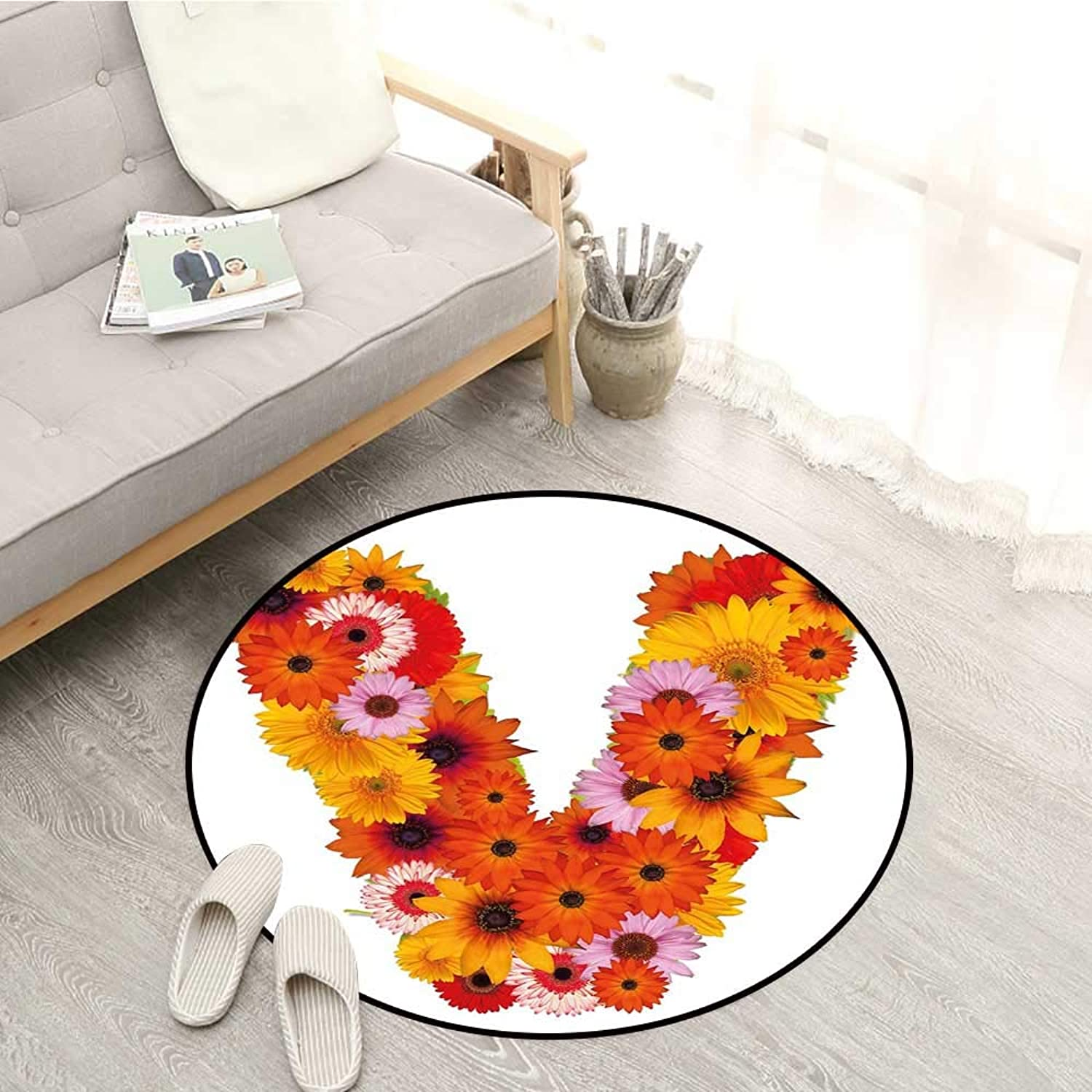 Letter V Skid-Resistant Rugs Summer Season colors with Vibrant Nature Blossom Healthy World V Alphabet Capital Sofa Coffee Table Mat 4'3  Multicolor