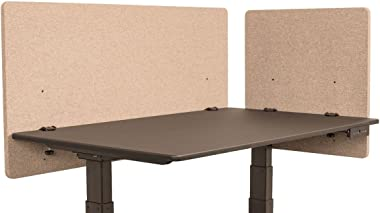 "LUXOR Reclaim Office Partition Divider Desk Mounted 2 Piece Desktop Privacy Panels, Desert Sand - 48"" W x 24"" H"