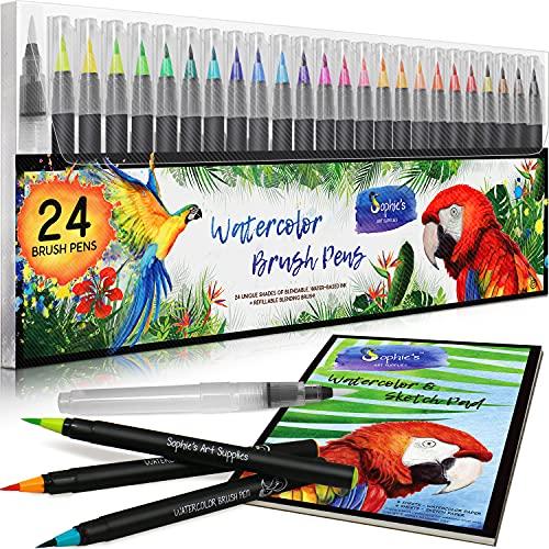 Watercolor Brush Pens - 24 Vibrant...