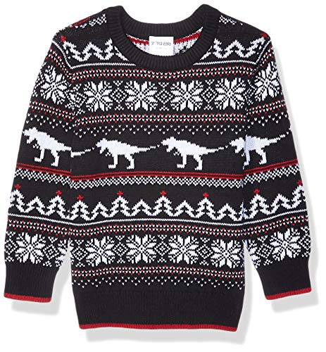 Amazon Brand - Spotted Zebra Kids Boys Pullover Crew Sweaters, Dino Fairisle, X-Large