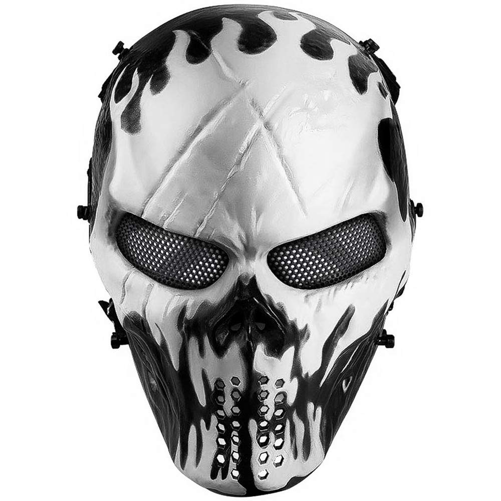 Amazon Com Airsoft Mask Full Face Tactical Skull Mask With Metal Mesh Eye Protection Paintball Mask For Bb Cs War Game Cosplay Masquerade Party Sports Outdoors