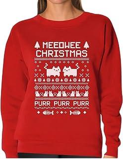 Tstars - Meeowee Christmas Ugly Sweater - Cute Xmas Party Women Sweatshirt