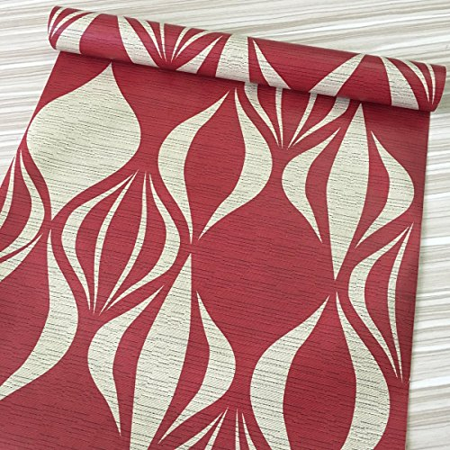 SimpleLife4U Red Geometric Design Contact Paper Self-Adhesive Shelf Liner Dresser Drawer Sticker 17.7 Inch By 9.8 Feet