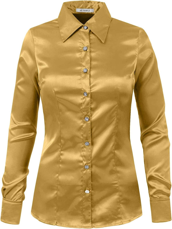 NE PEOPLE Womens Light Weight Long Cuff Sleeve Button Down Satin Shirt (S-3XL)