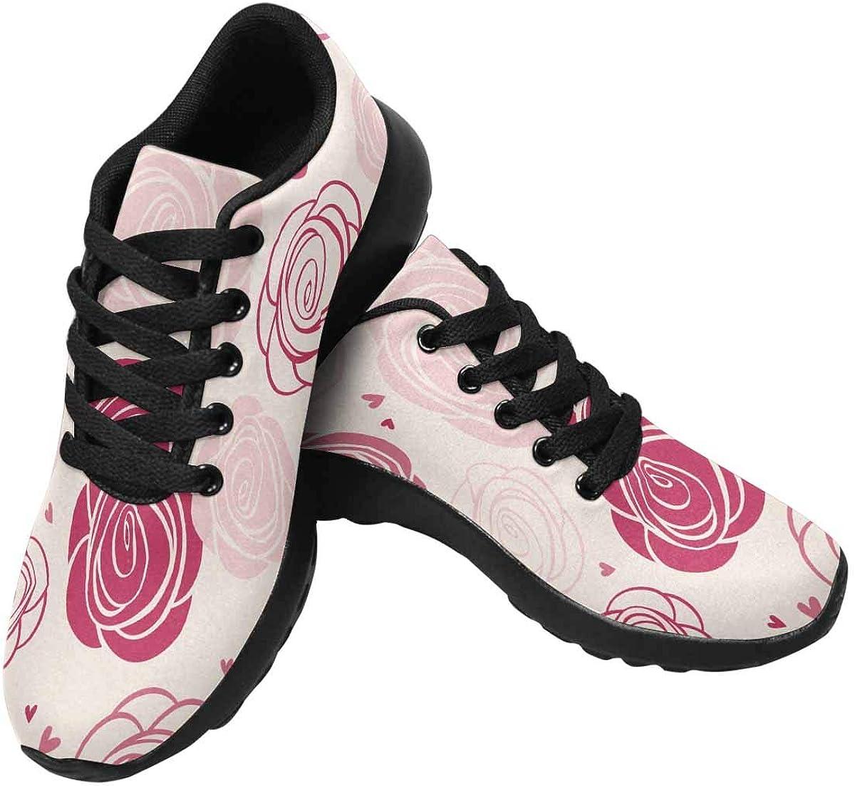 InterestPrint Rose Pattern Womens Jogging Sneakers Outdoor Sport Cross Training Shoes