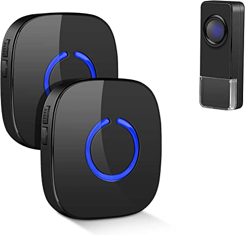 Coolqiya Wireless Doorbell Chime with 1 Remote Waterproof Transmitter and 2 Plugin Receivers, Operating up to 300m Ra...