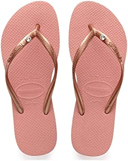 Havaianas Womens Slim Crystal Glamour Swarovski Flat Flip Flop - Black, Sand Grey/Light