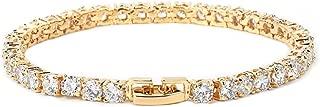 Men's Hip hop Jewelry Copper Material Gold Silver Rose Color Box Clasp CZ Bracelet Link 18.5cm,4MM Silver,18CM
