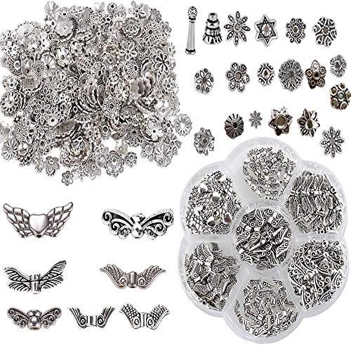 jenich 100g Metallperlen Perlenkappen + 140Pcs Flügel Spacer Perlen Zwischenperlen Engelsflügel Schmuck Zubehör für Armband Halskette Basteln DIY Schmuckherstellung