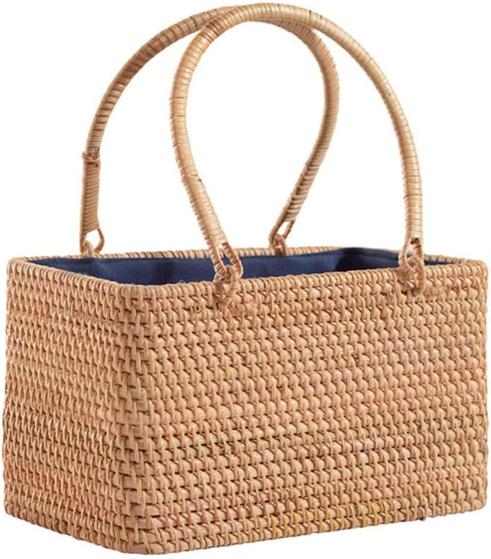 GUOCAO Max Max 83% OFF 69% OFF Wicker Basket with Double Picnic Handles Folding Natural