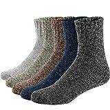 Ueither Calcetines de Lana Calientes Para Otoño e Invierno Estilo Vintage Hombre/Mujer 5 pares (Hombre:38-44/ Mujer:38-43, Color 5)