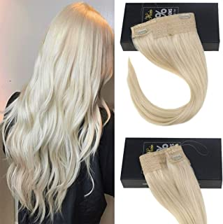 Sunny 18inch Platinum Blonde Halo Hair Extensions Remy Hair Fish Line Extensions Color Platinum Blonde #60 Halo Extensions Real Human Hair 80g/pack