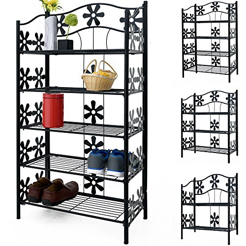 Deuba Metallregal Bücherregal Wandregal Standregal Höhe 90cm 4 Böden Deko Blumen Eisenregal Badregal Blumenregal