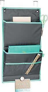 mDesign rangement suspendu pour portes – organiseur de bureau en tissu – système de rangement avec deux grands compartimen...