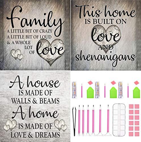 Kits pintura de diamante para bricolaje, punto cruz pintura diamante 5D, imágenes pintura diamante, arte bordado imitación cristal, accesorios niños adultos decoración la pared del hogar (family)