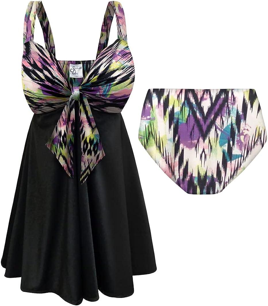 Plus Size Tall Swimsuit 2-PC Sweetheart Swimdress Aurora Sierra Print