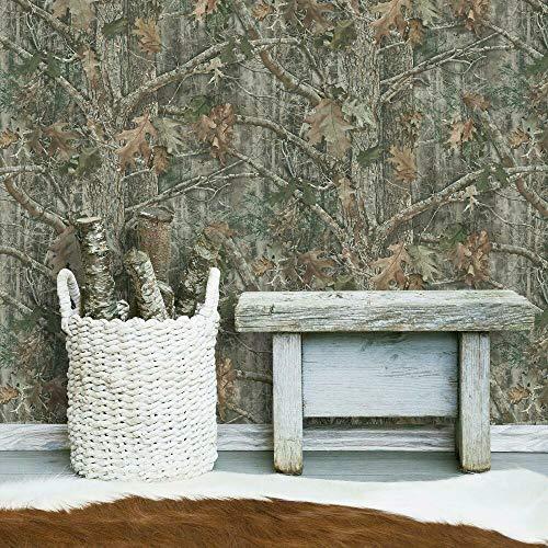 RoomMates RMK11081WP Green & Brown Kanati Camo Peel and Stick Wallpaper