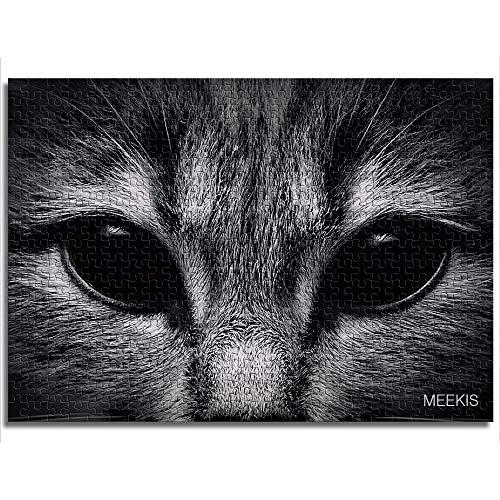 yuhho Puzzle Set 1000 Dark Muzzle Cat Geschlossene Vorderansicht Challenge Puzzle Thanksgiving Geschenk 38x52