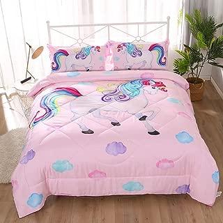 ENCOFT Pink Unicorn 3D Comforter Bedding Sets 3 Pieces,Tencel Cotton Unicorn Kids Comforter Sets with 2 Pillowcases