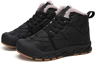 Qiucdzi Kids Winter Snow Boots Durable Rubber Outsole Water Resistant Ankle Boot Shoes for Boys Girls with Fur Lining
